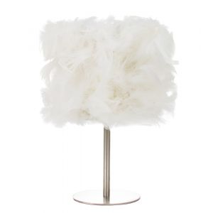 Modern and Chic Real White Feather Table Lamp with Satin Nickel Base and Switch