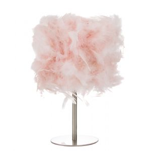 Modern and Chic Real Pink Feather Table Lamp with Satin Nickel Base and Switch