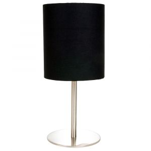 Contemporary Designer Satin Nickel Table Lamp with Black Cotton and Gold Shade