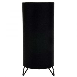 Contemporary Designer Black Cotton Table Lamp with Shiny Gold Inner Lining