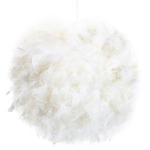 Contemporary and Unique Large White Real Feather Decorated Pendant Light Shade