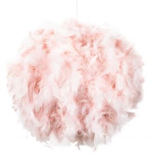 Contemporary and Unique Large Pink Real Feather Decorated Pendant Light Shade