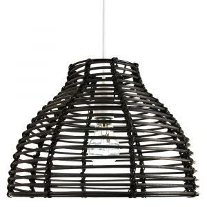 Traditional Basket Style Vintage Black Rattan Wicker Ceiling Pendant Light Shade