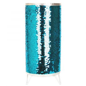Modern Designer Teal and Silver Shiny Sequin Table Lamp with Tripod Metal Feet
