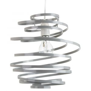 Contemporary Grey Gloss Metal Double Ribbon Spiral Swirl Ceiling Light Pendant