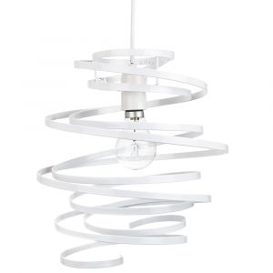 Contemporary White Gloss Metal Double Ribbon Spiral Swirl Ceiling Light Pendant
