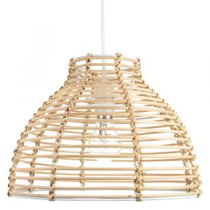 Traditional Basket Style Light Brown Rattan Wicker Ceiling Pendant Light Shade