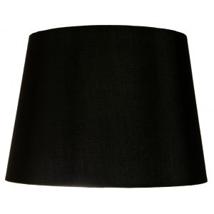 "Traditionally Designed Large 14"" Drum Lamp Shade in Sleek Black Faux Silk Fabric"