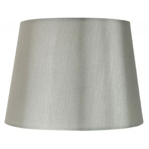 "Traditionally Designed Large 14"" Drum Lamp Shade in Sleek Grey Faux Silk Fabric"