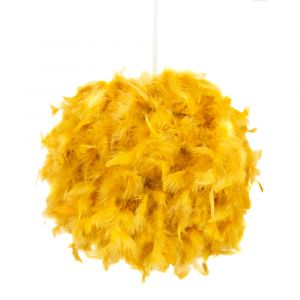 Eye-Catching and Designer Small Ochre Feather Decorated Pendant Lighting Shade