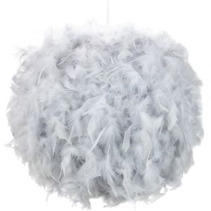 Contemporary and Unique Large Grey Real Feather Decorated Pendant Light Shade