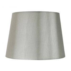 "Traditionally Designed Medium 12"" Drum Lamp Shade in Sleek Grey Faux Silk Fabric"