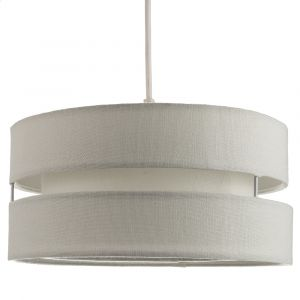 Contemporary Quality Grey Linen Fabric Triple Tier Ceiling Pendant Light Shade