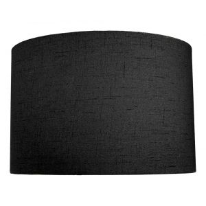 Contemporary and Sleek Black Textured Linen Fabric Drum Lamp Shade 60w Maximum