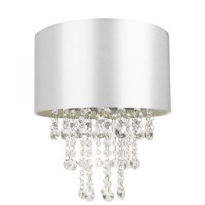 Modern Grey Satin Fabric Pendant Light Shade with Transparent Acrylic Droplets