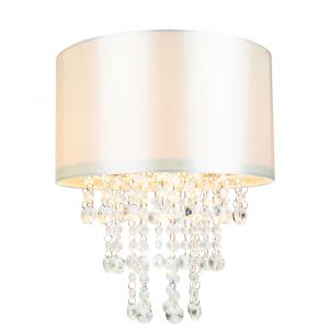 Modern Cream Satin Fabric Pendant Light Shade with Transparent Acrylic Droplets