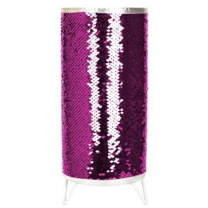 Modern Designer Pink and Silver Shiny Sequin Table Lamp with Tripod Metal Feet