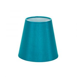 "Traditionally Designed Small 6"" Clip Lamp Drum Shade in Teal Faux Silk Fabric"