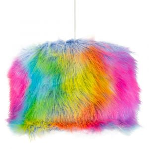 "Modern and Vivid Multi Coloured Soft Faux Fur Fabric 10"" Diameter Lamp Shade"