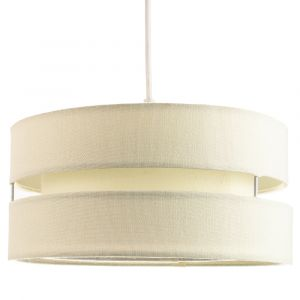 Contemporary Quality Cream Linen Fabric Triple Tier Ceiling Pendant Light Shade