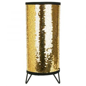 Modern Designer Gold and Black Shiny Sequin Table Lamp with Tripod Metal Feet