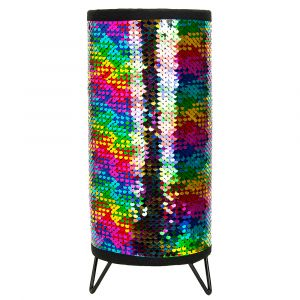 Modern Designer Multi-Coloured Shiny Sequin Table Lamp with Metal Tripod Feet