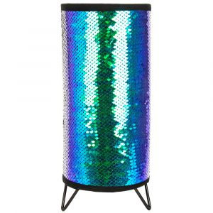 Modern Designer Emerald Blue and Black Shiny Sequin Table Lamp with Metal Feet