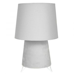Modern Designer Table Lamp with Grey Velvet Base and Grey Cotton Fabric Shade