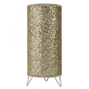 Modern and Novelty Gold Glitter Table Lamp with White Metal Feet and Switch