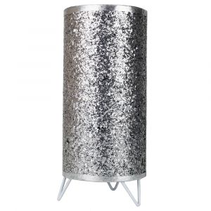 Modern and Novelty Silver Glitter Table Lamp with White Metal Feet and Switch