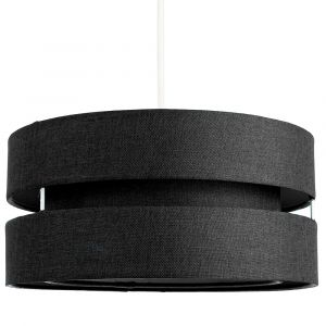 Contemporary Quality Black Linen Fabric Triple Tier Ceiling Pendant Light Shade
