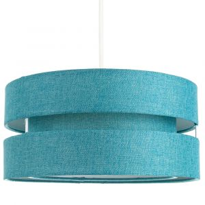 Contemporary Quality Teal Linen Fabric Triple Tier Ceiling Pendant Light Shade
