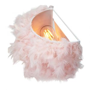 Eye-Catching and Contemporary Real Pink Feather Decorated Flush Wall Light