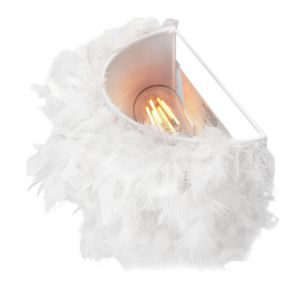 Eye-Catching and Contemporary Real White Feather Decorated Flush Wall Light
