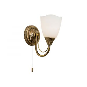 Traditional Antique Brass Wall Light Fitting with Opal Glass Shade and Switch