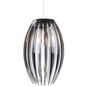 Modern Designer Easy Fit Pendant Shade with Beautiful Smoked Acrylic Curved Rods