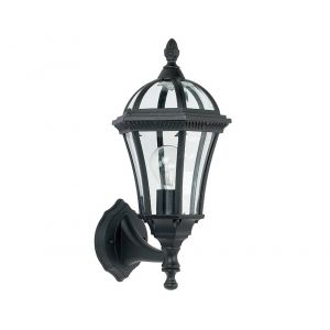 Traditional Matt Black Exterior Lantern Wall Light Fitting with Bevelled Glass