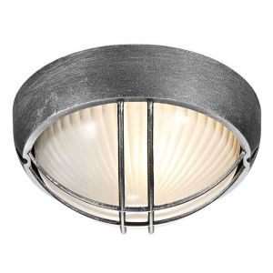 Black/Silver Die Cast Aluminium Outdoor Circular Bulkhead Porch or Wall Light