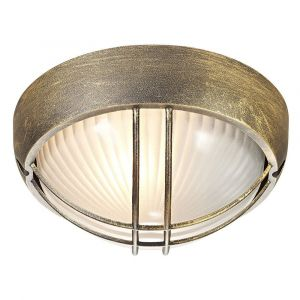 Black/Gold Die Cast Aluminium Outdoor Circular Bulkhead Porch or Wall Light