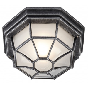 Traditional Hexagonal Black/Silver Flush Ceiling Porch Light
