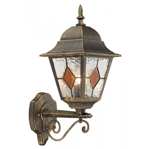 Black/Gold Cast Aluminium Outdoor Wall Light With Amber Leaded Glass