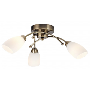Contemporary 3 Arm Antique Brass Ceiling Light Fitting