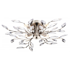 Modern Birch 4 Light Semi Flush Satin Chrome Ceiling Light with Clear Leaves