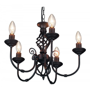 Matt Black 5 Arm Pendant Light with Twist Knot Design