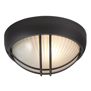 Matt Black Die Cast Aluminium Outdoor Circular Bulkhead Porch or Wall Light