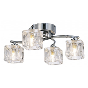 Modern 4-Bulb Ceiling Light with Clear Ice Cube Shades