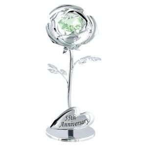 "Modern ""55th Anniversary"" Silver Plated Flower with Green Swarovski Crystal"