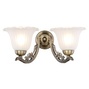 Traditional Twin Arm Antique Brass Wall Light with Frosted Shades