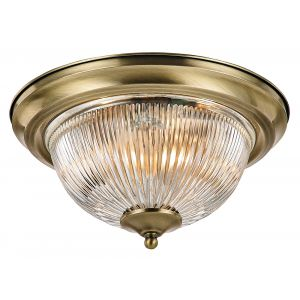 Traditional Antique Brass IP44 Bathroom Ceiling Light Fitting