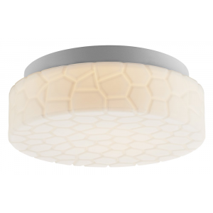 Unique Stone Effect White Glass IP44 LED Bathroom Ceiling Light